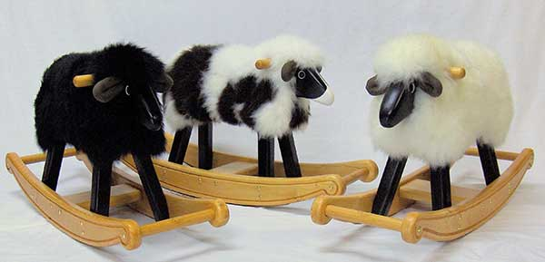 Jet Black, Jacob and Ivory Fleece Rocking Lambs [Click image for details]
